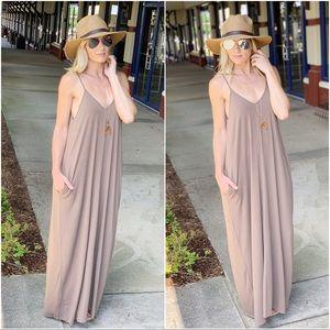 ✨RESTOCK✨Mocha V Neck Cami Maxi Dress with Pockets